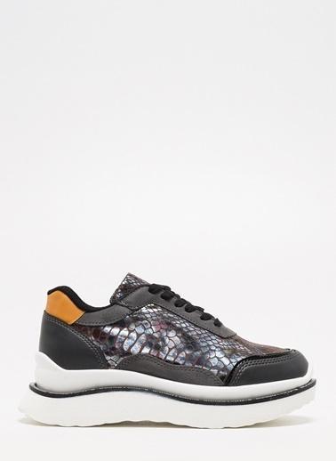 F By Fabrika Fabrika Sentetik Düz Nlı Bağcıklı Pul Detaylı Renk Kenn Kadın Sneaker Renkli